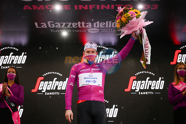 French Champion Arnaud Demare (FRA) Groupama-FDJ retains the points Maglia Ciclamino at the end of Stage 12 of the 103rd edition of the Giro d'Italia 2020 running 204km from Cesenatico to Cesenatico, Italy. 15th October 2020.  <br /> Picture: LaPresse/Marco Alpozzi | Cyclefile<br /> <br /> All photos usage must carry mandatory copyright credit (© Cyclefile | LaPresse/Marco Alpozzi)