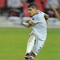 WASHINGTON, DC - SEPTEMBER 27: Gustavo Bou #7 of New England Revolution during a game between New England Revolution and D.C. United at Audi Field on September 27, 2020 in Washington, DC.