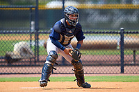 FCL Tigers East catcher Cristian Calzadilla (17) during practice before a game against the FCL Yankees on July 27, 2021 at the Yankees Minor League Complex in Tampa, Florida. (Mike Janes/Four Seam Images)
