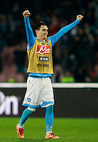 Calcio, Serie A: Napoli vs Juventus. Napoli, stadio San Paolo, 30 marzo 2014. <br /> Napoli forward Jose' Maria Callejon, of Spain, celebrates at the end of the Italian Serie A football match between Napoli and Juventus at Naples' San Paolo stadium, 30 March 2014. Napoli won 2-0.<br /> UPDATE IMAGES PRESS/Isabella Bonotto
