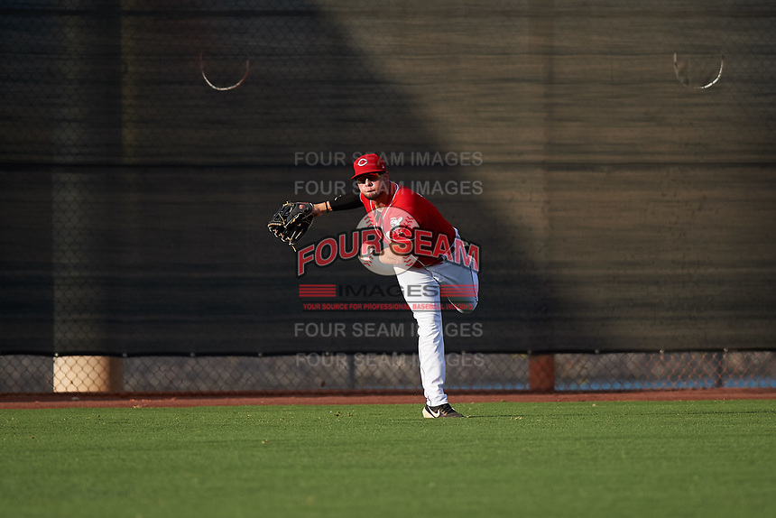 AZL Reds left fielder Wendell Marrero (31) throws to the infield during an Arizona League game against the AZL Athletics Green on July 21, 2019 at the Cincinnati Reds Spring Training Complex in Goodyear, Arizona. The AZL Reds defeated the AZL Athletics Green 8-6. (Zachary Lucy/Four Seam Images)