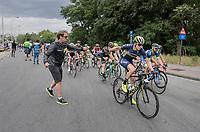 Jens Keukeleire (BEL/Orica Scott) fetching his musette from soigneur Joachim Schoonacker<br /> <br /> 2017 National Championships Belgium - Elite Men - Road Race (NC)<br /> 1 Day Race: Antwerpen > Antwerpen (233km)