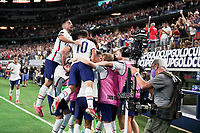 DALLAS, TX - JULY 25: Matthew Hoppe #13 of the United States scores his goal and celebrates with his USMNT team mates during a game between Jamaica and USMNT at AT&T Stadium on July 25, 2021 in Dallas, Texas.