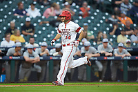 Kennon Fontenot (14) of the Louisiana Ragin' Cajuns scores a run against the Vanderbilt Commodores in game five of the 2018 Shriners Hospitals for Children College Classic at Minute Maid Park on March 3, 2018 in Houston, Texas.  The Ragin' Cajuns defeated the Commodores 3-0.  (Brian Westerholt/Four Seam Images)