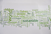 """The walls of the Rio Centre venue carry panels of words linked to the theme of the conference, """"The Future We Want"""". United Nations Conference on Sustainable Development (Rio+20), Rio de Janeiro, Brazil. Photo © Sue Cunningham."""