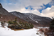 Franconia Notch State Park from the Franconia Notch Bike Path in the White Mountains of New Hampshire during the winter months.