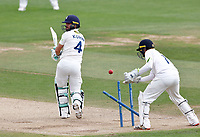 Heino Kuhn of Kent is bowled by Jack Carson during Kent CCC vs Sussex CCC, LV Insurance County Championship Group 3 Cricket at The Spitfire Ground on 14th July 2021