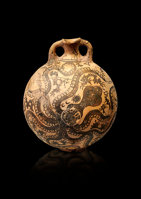 Minoan 2 handled flask with Marine style stylised octopus design,   Palaikastro,  1500-1450 BC; Heraklion Archaeological  Museum, black background
