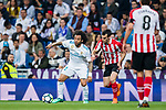 Marcelo Vieira Da Silva (L) of Real Madrid fights for the ball with Inigo Lekue of Athletic Club de Bilbao during the La Liga 2017-18 match between Real Madrid and Athletic Club Bilbao at Estadio Santiago Bernabeu on April 18 2018 in Madrid, Spain. Photo by Diego Souto / Power Sport Images