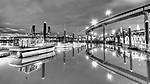 Downtown Portland Oregon waterfront highway overpass at night in black and white