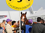 May 17, 2014. California Chrome waits to be saddled before winning the 139th Preakness Stakes at Pimlico Race Course in Baltimore, MD. ©Joan Fairman Kanes/ESW/CSM