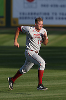 Dustin DeMuth #16 of the Indiana Hoosiers during a game against the Long Beach State Dirtbags at Blair Field on March 14, 2014 in Long Beach, California. Long Beach State defeated Indiana 4-3. (Larry Goren/Four Seam Images)
