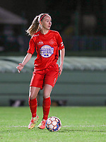 Woluwe's Magali Dinon (6) with the ball during a female soccer game between FC Femina WS Woluwe and Standard Femina de Liege on the fourth match day of the 2020 - 2021 season of Belgian Womens Super League , Friday 8th of October 2020  in Liege , Belgium . PHOTO SPORTPIX.BE | SPP | SEVIL OKTEM