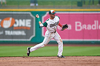 Fort Wayne TinCaps shortstop Tucupita Marcano (15) throws to first base during a Midwest League game against the Kane County Cougars at Parkview Field on May 1, 2019 in Fort Wayne, Indiana. Fort Wayne defeated Kane County 10-4. (Zachary Lucy/Four Seam Images)