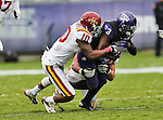 Iowa State Cyclones defensive back Jacques Washington (10) and TCU Horned Frogs running back B.J. Catalon (23) in action during the game between the Iowa State Cyclones and the TCU Horned Frogs  at the Amon G. Carter Stadium in Fort Worth, Texas. Iowa State defeats TCU 37 to 23.