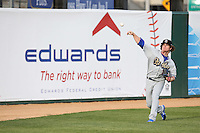 Grant Holmes (14) of the Rancho Cucamonga Quakes throws in the outfield before pitching against the Lancaster JetHawks at The Hanger on April 19, 2016 in Lancaster, California. Rancho Cucamonga defeated Lancaster, 10-6. (Larry Goren/Four Seam Images)