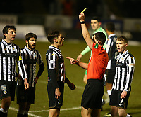 10th February 2021; St Mirren Park, Paisley, Renfrewshire, Scotland; Scottish Premiership Football, St Mirren versus Celtic; Conor McCarthy of St Mirren is yellow carded by referee Don Robertson after protesting the penalty award