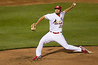 Nick Greenwood (32) of the Springfield Cardinals delivers a pitch during a game against the Tulsa Drillers on April 29, 2011 at Hammons Field in Springfield, Missouri.  Photo By David Welker/Four Seam Images.
