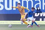 20.02.2021, xtgx, Fussball 3. Liga, FC Hansa Rostock - SV Waldhof Mannheim, v.l. Anthony Roczen (Mannheim)<br /> , Bjoern Rother (Hansa Rostock, 6) <br /> (DFL/DFB REGULATIONS PROHIBIT ANY USE OF PHOTOGRAPHS as IMAGE SEQUENCES and/or QUASI-VIDEO)<br /> <br /> Foto © PIX-Sportfotos *** Foto ist honorarpflichtig! *** Auf Anfrage in hoeherer Qualitaet/Aufloesung. Belegexemplar erbeten. Veroeffentlichung ausschliesslich fuer journalistisch-publizistische Zwecke. For editorial use only.