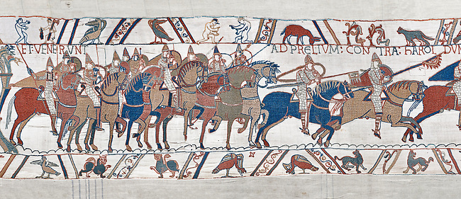 Bayeux Tapestry scene 48 :  Duke Williams Norman cavalry advance on Harols Saxons.