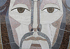 """June 9, 2020; Close up of the face of Jesus on the """"Word of Life"""" mural on the Hesburgh Library. (Photo by Barbara Johnston/University of Notre Dame)"""