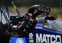 Mar. 11, 2012; Gainesville, FL, USA; NHRA top fuel dragster driver Antron Brown has engine damage during the Gatornationals at Auto Plus Raceway at Gainesville. Mandatory Credit: Mark J. Rebilas-