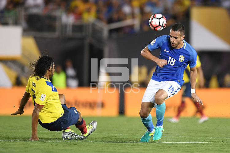 Action photo during the match Brazil vs Ecuador, Corresponding Group -B- America Cup Centenary 2016, at Rose Bowl Stadium<br /> <br /> Foto de accion durante el partido Brasil vs Ecuador, Correspondiante al Grupo -B-  de la Copa America Centenario USA 2016 en el Estadio Rose Bowl, en la foto: (i-d) Arturo Mina de Ecuador y  Renato Augusto de Brasil<br /> <br /> <br /> 04/06/2016/MEXSPORT/Omar Martinez.