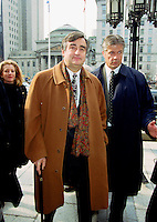 Montreal, 2000-03-09. Quebec Premier and Leader of the Parti QuÈbÈcois ; The Honorable Lucien Bouchard was attending the funeral of former FTQ union leader Marcel PÈpin held at the Notre-Dame Basilica in Montreal (QuÈbec, Canada) on March 9th, 2000.<br /> Photo : (c) Pierre Roussel, 2000