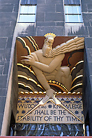 "New York City:  RCA Building, Bas-relief by Lee Lawrie, ""Wisdom: A Voice from the Clouds"", 1933. Inscription from Isaiah 33.6."