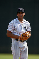 GCL Yankees East pitcher Deivi Diaz (19) during a Gulf Coast League game against the GCL Phillies East on July 31, 2019 at Yankees Minor League Complex in Tampa, Florida.  GCL Yankees East defeated the GCL Phillies East 11-0 in the first game of a doubleheader.  (Mike Janes/Four Seam Images)