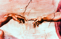 "Vatican:  Sistine Chapel--Vault fresco  "" Creation of Man"", detail of a fresco by Michelangelo, 1508-1512."