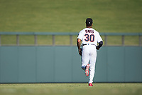 Salt River Rafters left fielder Jaylin Davis (30), of the Minnesota Twins organization, jogs onto the field between innings of an Arizona Fall League game against the Glendale Desert Dogs at Salt River Fields at Talking Stick on October 31, 2018 in Scottsdale, Arizona. Glendale defeated Salt River 12-6 in extra innings. (Zachary Lucy/Four Seam Images)