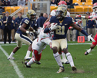 Pitt kick returner Buddy Jackson (21) returns a kickoff 98 yards for a touchdown.The Utah Utes defeated the Pitt Panthers 26-14 at Heinz Field, Pittsburgh, Pennsylvania on October 15, 2011.