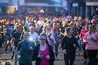 BNPS.co.uk (01202 558833)<br /> Pic: MaxWillcock/BNPS<br /> <br /> Pictured: Runners set off towards Boscombe Pier.<br /> <br /> Hundreds of runners responded to an Instagram invitation to join the nation's favourite PE teacher Joe Wicks on an early morning 5km run from Bournemouth Pier to Boscombe Pier and back.<br /> <br /> Avid fans of The Body Coach had to wake up at the crack of dawn to meet Joe Wicks at 7am for the run down the promenade.