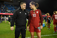 San Jose, CA - Sunday November 12, 2017: John Herdman, Carli Lloyd during an International friendly match between the Women's National teams of the United States (USA) and Canada (CAN) at Avaya Stadium.