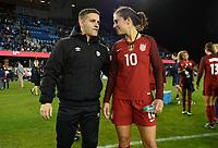 San Jose, CA - Sunday November 12, 2017: John Herdman, Carli Lloyd during an International friendly match between the Women's National teams of the United States (USA) and Canada (CAN) at Avaya Stadium.