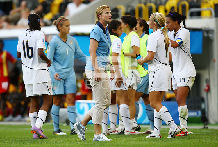 USA's Coach Jill Ellis (C) reacts after the game during the FIFA U20 Women's World Cup at the Rudolf Harbig Stadium in Dresden, Germany on July 14th, 2010.