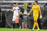 21st August 2020, Rheinenergiestadion, Cologne, Germany; Europa League Cup final Sevilla versus Inter Milan;  Seville's Jesus Navas (l) and goalkeeper Yassine Bounou (Bono) pass the Europa League trophy on entering the stadium.