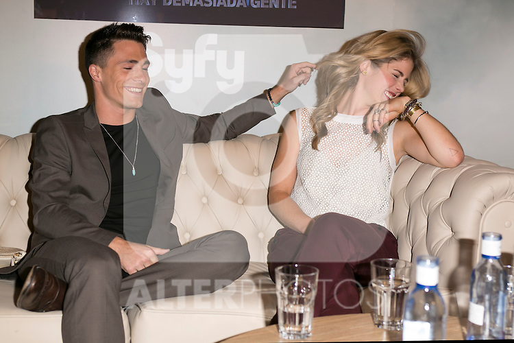 """The actors Colton Haynes and Emily Bett Rickards attends the fan event of the tv shows ARROW and THE 100, at the """"ATRESMEDIA CAFE""""   in Madrid, Spain. Jun 9, 2014. (ALTERPHOTOS/Carlos Dafonte)"""
