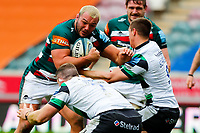 28th March 2021; Mattoli Woods Welford Road Stadium, Leicester, Midlands, England; Premiership Rugby, Leicester Tigers versus Newcastle Falcons; Ellis Genge of Leicester Tigers charges into contact with the Newcastle Falcons defence