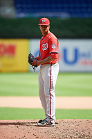 Washington Nationals pitcher Jhonatan German (34) looks in for the sign during a Florida Instructional League game against the Miami Marlins on September 26, 2018 at the Marlins Park in Miami, Florida.  (Mike Janes/Four Seam Images)