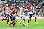 Real Madrid Gareth Bale and Atletico de Madrid Filipe Luis and Saul Niguez during La Liga match between Real Madrid and Atletico de Madrid at Santiago Bernabeu Stadium in Madrid, Spain. September 29, 2018. (ALTERPHOTOS/Borja B.Hojas)