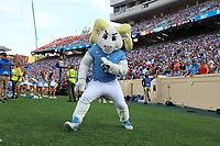 CHAPEL HILL, NC - SEPTEMBER 28: University of North Carolina mascot Rameses dances on the sideline during a game between Clemson University and University of North Carolina at Kenan Memorial Stadium on September 28, 2019 in Chapel Hill, North Carolina.