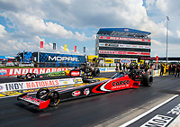 Aug 9, 2020; Clermont, Indiana, USA; NHRA top fuel driver Steve Torrence (near) alongside Terry McMillen in the final round of the Indy Nationals at Lucas Oil Raceway. Mandatory Credit: Mark J. Rebilas-USA TODAY Sports