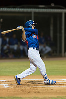 AZL Cubs 2 center fielder Cole Roederer (34) follows through on his swing during an Arizona League game against the AZL Indians 2 at Sloan Park on August 2, 2018 in Mesa, Arizona. The AZL Indians 2 defeated the AZL Cubs 2 by a score of 9-8. (Zachary Lucy/Four Seam Images)