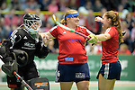 GER - Luebeck, Germany, February 06: Players of Duesseldorfer HC celebrate after winning the 1. Bundesliga Damen indoor hockey semi final match at the Final 4 between Berliner HC (blue) and Duesseldorfer HC (red) on February 6, 2016 at Hansehalle Luebeck in Luebeck, Germany. Final score 1-3 (HT 0-1). (Photo by Dirk Markgraf / www.265-images.com) *** Local caption *** Nathalie Kubalski (TW) #1 of Duesseldorfer HC, Sabine Markert #6 of Duesseldorfer HC