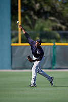 GCL Yankees West right fielder Anthony Garcia (37) throws from the outfield during a game against the GCL Pirates on August 2, 2018 at Pirate City Complex in Bradenton, Florida.  GCL Pirates defeated GCL Yankees West 6-2.  (Mike Janes/Four Seam Images)