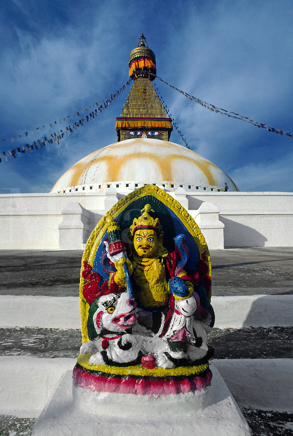 Statue of PADMASAMBHAVA at BODHANATH STUPA, the largest Buddhist stupa in NEPAL
