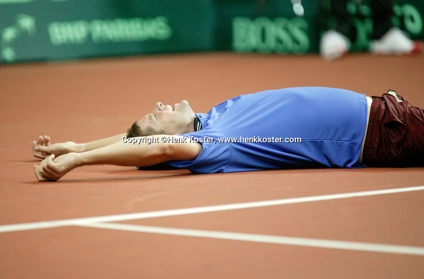 22-9-06,Leiden, Daviscup Netherlands-Tsjech Republic, Jiri Novak celebrates his victory over Sluiter