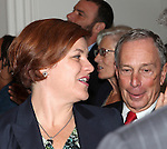 City Council Speaker Christine Quinn & Mayor Michael Bloomberg attending the Unveiling of the Revitalized Public Theater at Astor Place in New York City on 10/4/2012.